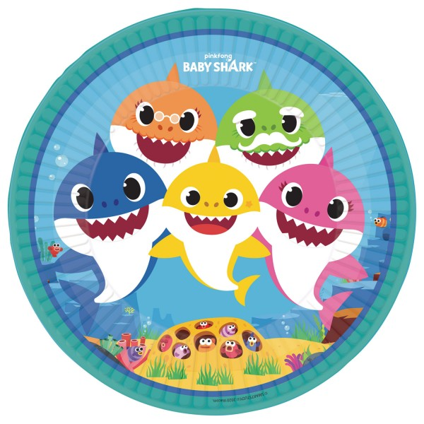8 piatti di carta Baby Shark Family 23 cm