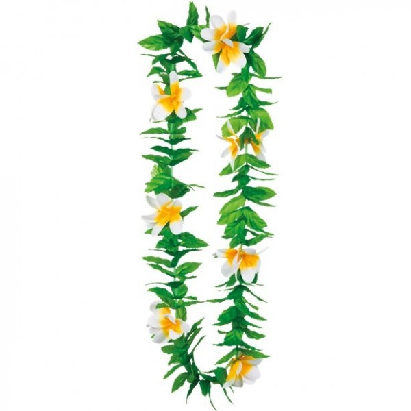 Cadena de flores de Hawaii con flores y hojas
