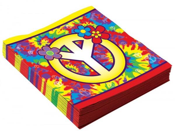 16 Hippie Servietten Peace 16 x 16cm
