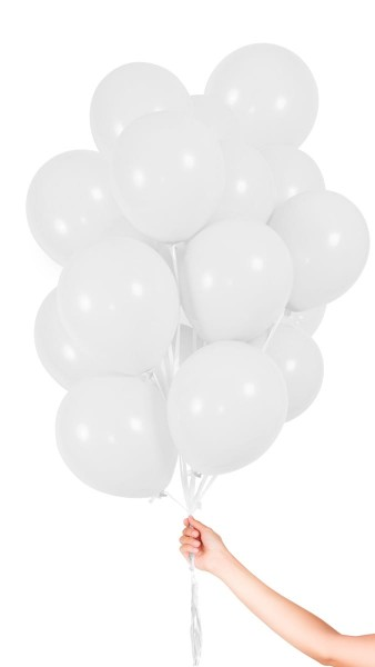 30 White Balloons with ribbon 23cm