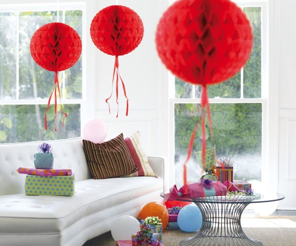 Honeycomb ball red 30cm