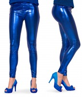 Azula Leggings In Metallic Blau