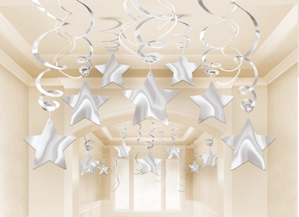 30 silver stars spiral hangers 60cm