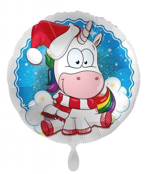 Ballon aluminium Licorne de Noël 71cm