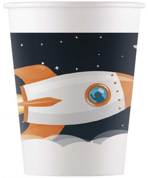 8 Weltraum Pappbecher Mondfahrt 200ml
