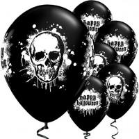 6 Halloween Skull Latexballons Schwarz