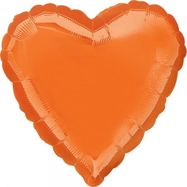 Orangefarbener Herzballon 43cm