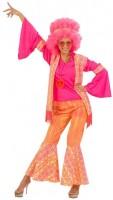Knalliges Hippie Damenkostüm Pink