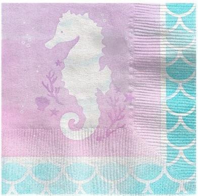 16 serviettes de table Mermaid Treasures 25 cm