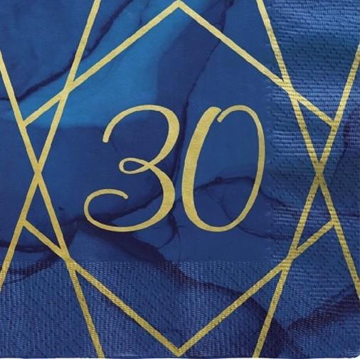 16 Serviettes Luxueuses 30ème Anniversaire 33cm