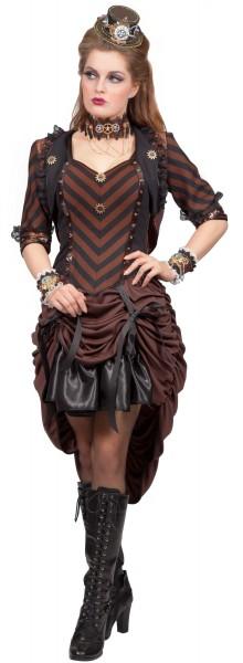 Gerafftes Steampunk Mädchen Kleid
