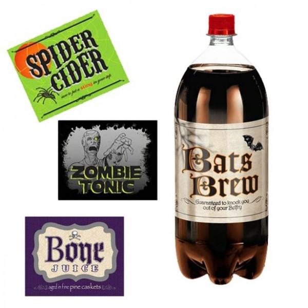 4 étiquettes bouteilles Halloween 13cm
