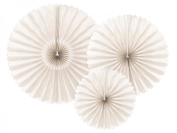 3 papierowe rozety Victoria w kolorze kremowym