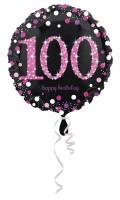 Pink 100th Birthday Folienballon 43cm
