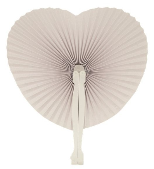 White paper heart fan 14cm