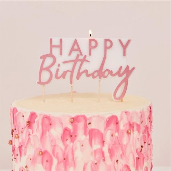 Rosy Birthday Tortenkerze 11 x 12,5cm