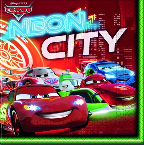 20 Cars Neon City Servietten 33cm