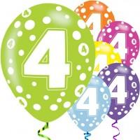 6 Fancy 4th Birthday Luftballons 28cm