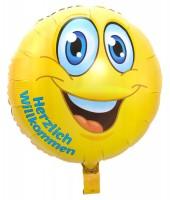 Folienballon Smiley Herzlich Willkommen