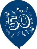8 Verrückte Zahlen-Ballons 50.Geburtstag Bunt
