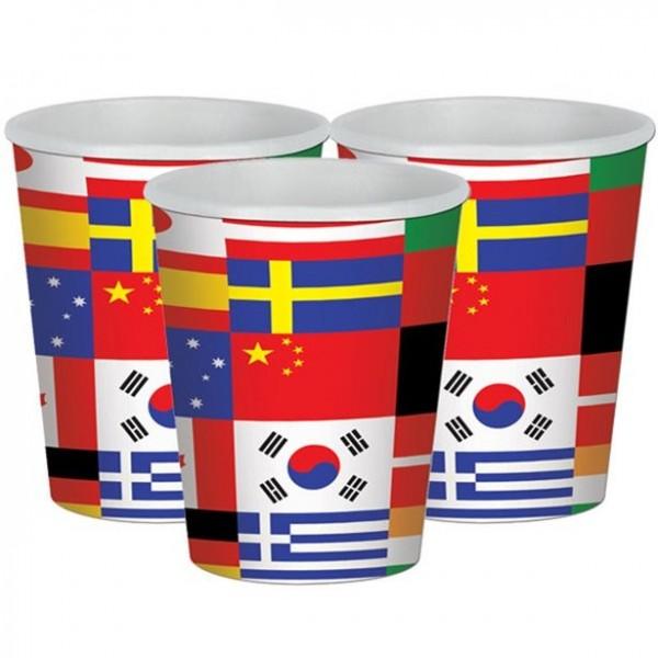 8 Pappbecher internationale Flaggen 255ml
