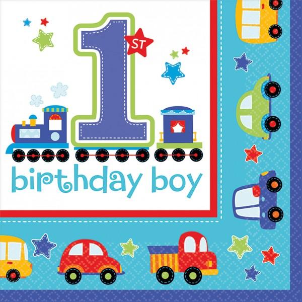Birthday Boy 1.Geburtstag 16 Servietten Mit Spielzeug Motiv 1