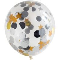 Ballon 4er Set mit Punkte und Sterne Konfetti 30cm