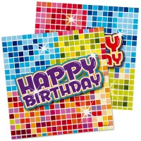 16 Groovy Happy Birthday Servietten 25cm