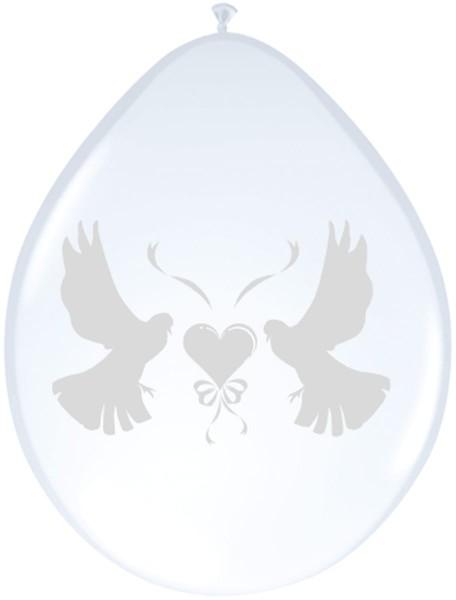 8 palloncini da sposa con colombe bianche