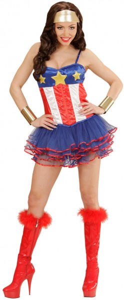 Corset Karen Superwoman avec tutu au look USA