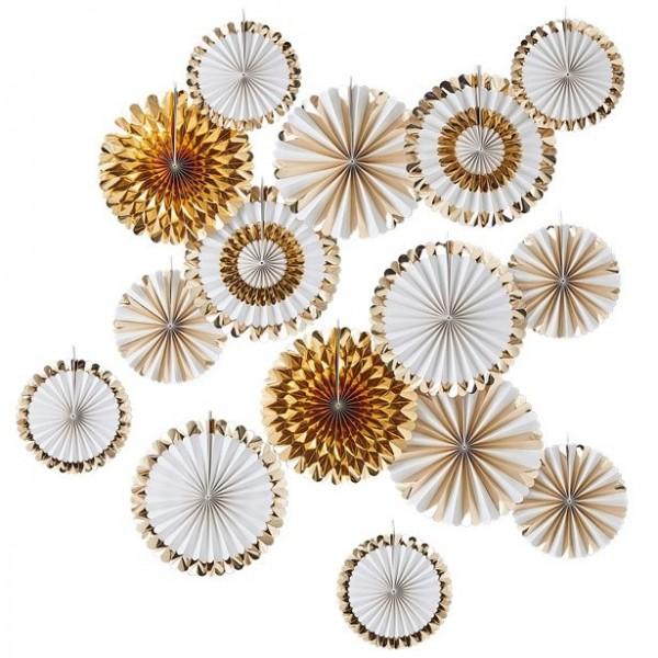 15 rosaces éventail or blanc