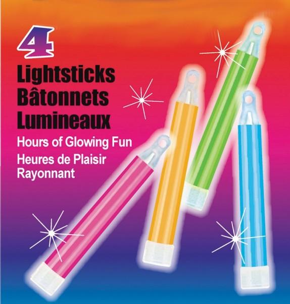 Confezione da 4 bastoncini luminosi Neon Party 10cm