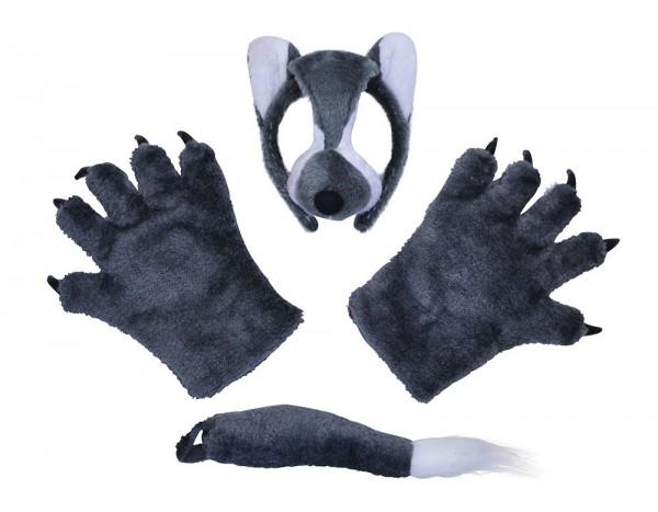 Plüschiges Wolf Kostümset 3-teilig