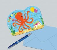 Lustige Meeresparty Einladungskarte Mit Oktopus 8 Stück