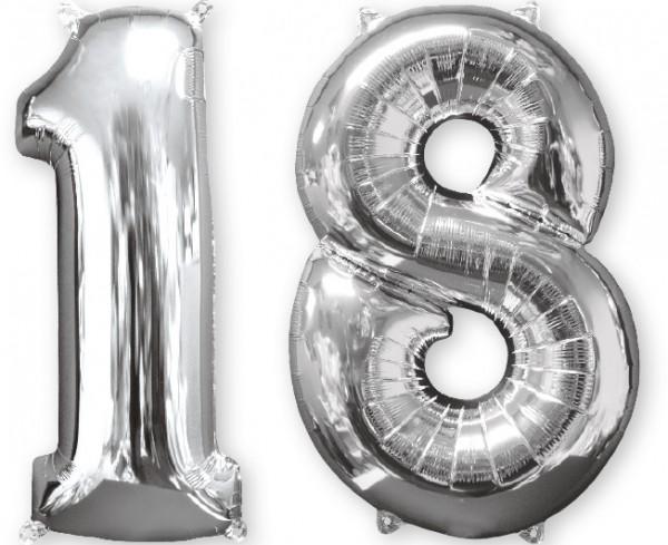 Folienballon Zahl 18 silber 66cm