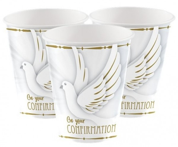 8 Confirmation paper cups Holy Day 266ml
