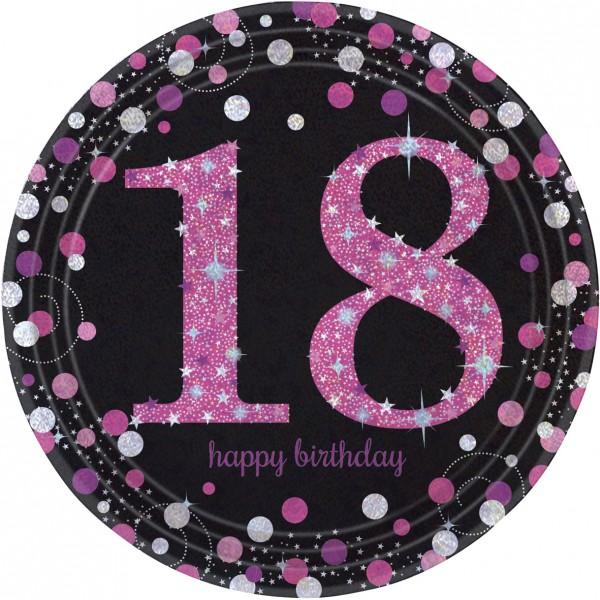 8 Pink 18th Birthday paper plates 23cm