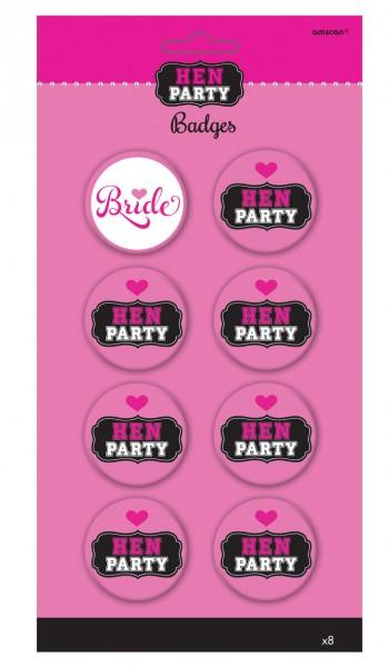 Ladies Night Hen Party Buttons Pink 8 Stück