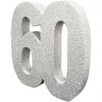 Tischdeko glitzernde Zahl 60 silber 20cm
