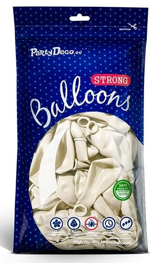 50 Party Star metallic balloons white 30cm