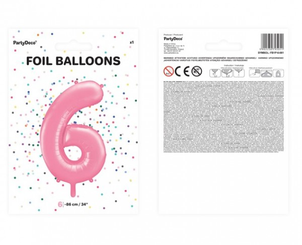 Ballon aluminium numéro 6 rose 86cm