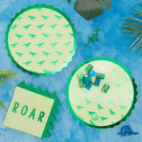 8 assiettes en papier Roarsome Dino 23cm