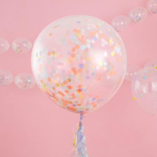 3 Pastell Regenbogen XL Ballons 91cm