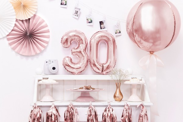 Metallic number balloon 3 rose gold 35cm