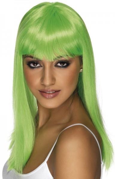 Neon groene feestpruik voor dames