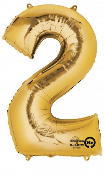 Zahlenballon 2 gold 88cm