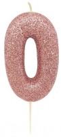 Glitzernde Zahl 0 Tortenkerze roségold 7cm