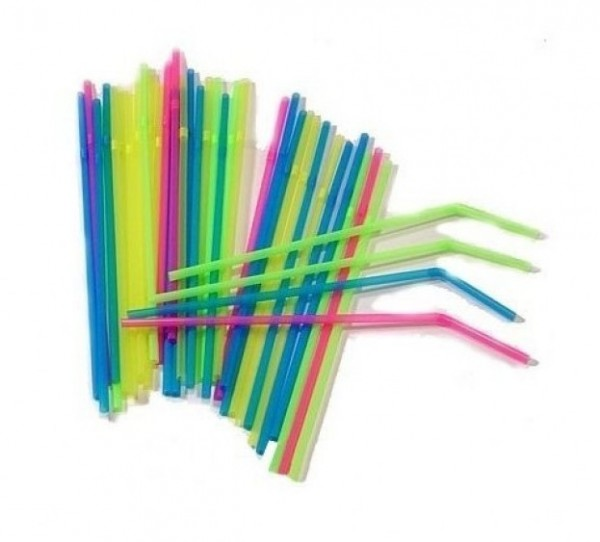 40 Tropical Beach Party Neon Straws 24cm