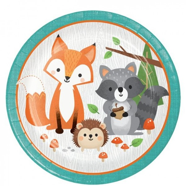 8 cute forest animals paper plates 23cm