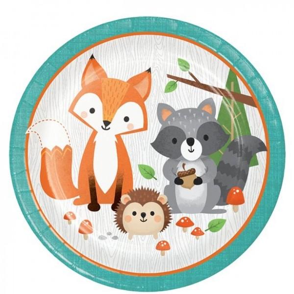 8 jolies assiettes en papier animaux de la forêt 23cm